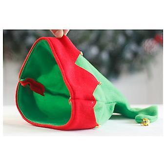 2 Color Christmas Elf Hat, Cartoon Design, Bell, Warm Hat, Merry Christmas, Children Decoration