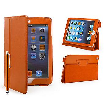 Bucheinband Leder Case für Apple iPad Mini + Stylus-Stift - Orange