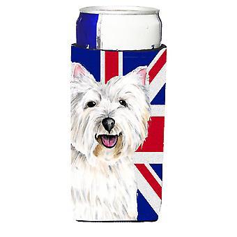 Westie mit englischen Union Jack britische Flagge Ultra Getränke Isolatoren für schlanke c