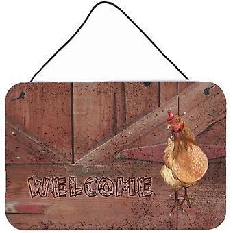 Willkommen Huhn Aluminium Metall Wand oder Tür hängen Drucke