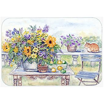 Patio Bouquet of Flowers Glass Cutting Board Large