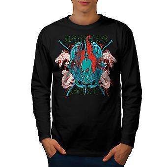 Japonia Dragon fajnych mężczyzn BlackLong rękaw T-shirt   Wellcoda