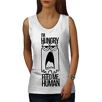 Feed Me Human Joke Women WhiteTank Top | Wellcoda