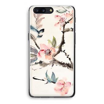 OnePlus 5 Transparant Case (Soft) - Japenese flowers