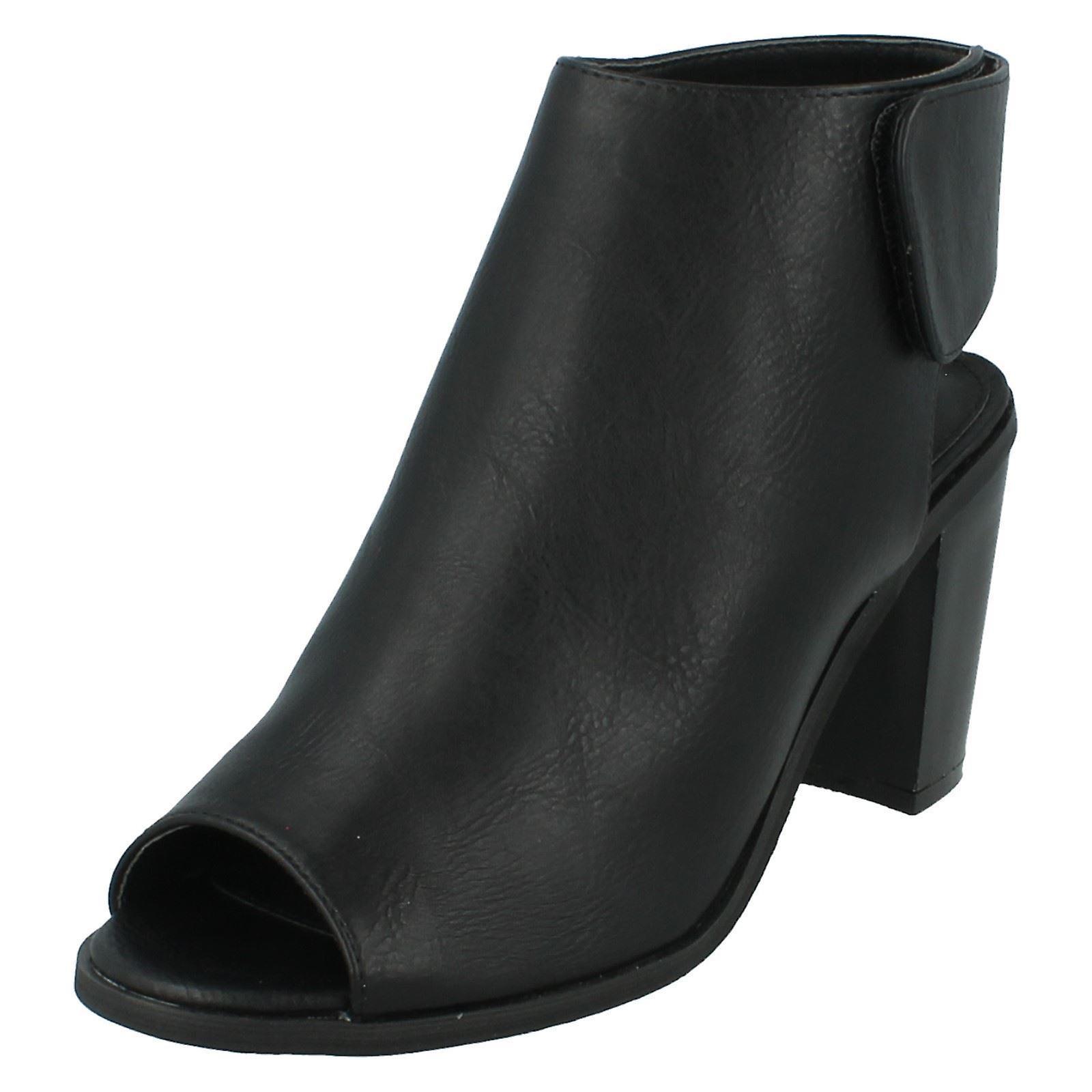 Ladies Spot On Peep Toe Shoe Boots F10504 VhMF2