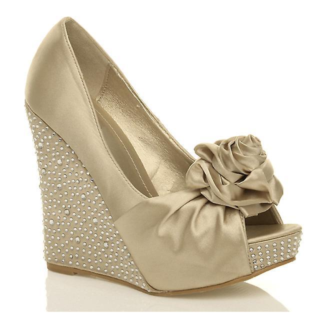 Ajvani womens platform high heel wedge bridal wedding flower peep toe shoes sandals RQc3p