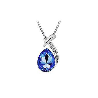 Womens Dark Blue Crystal Diamante hänge halsband droppformade sten