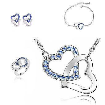 Dark Blue Crystal Stones Hearts Jewellery Set With Matching Necklace Earrings Bracelet and Ring