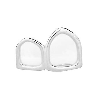 2 tooth Grill - one size fits all - HOLLOW RIGHT silver