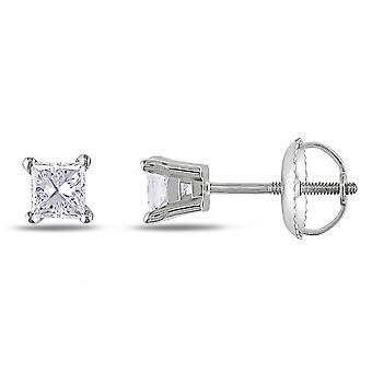 1/2 Carat (ctw I1-I2, Color H-I) Princess Cut Diamond Solitaire Stud Screw Back Earrings in 14K White Gold