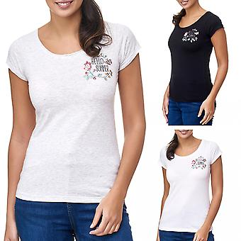 Ladies T-Shirt Flowers Summer Short Sleeve Floral Embroidery Sublevel New