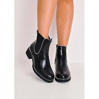 Chunky bezaaid Chelsea Ankle Boots zwart
