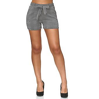 Женские шорты квадрате Hound's-tooth проверить шаблон брюки стрейч пояса лук