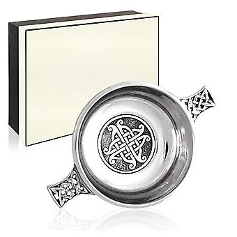 Celtic Knot Work Pewter Quaich with Central Knot Disc - 3.5