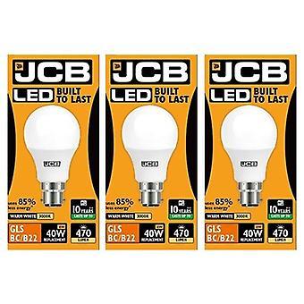 3 X JCB  6w = 40w LED GLS Opal BC/B22 3000k Warm White 6w 40W [Energy Class A+]