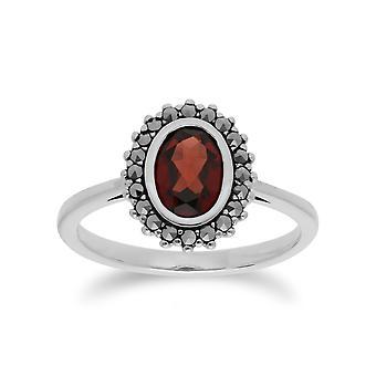 Art-Deco-Stil Oval Granat & Marcasite Halo Ring in 925 Sterling Silber 214R599703925