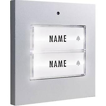 m-e modern-electronics 41049 Bell button backlit, incl. nameplate Semi-detached Silver 8-24 V AC/DC/1 A