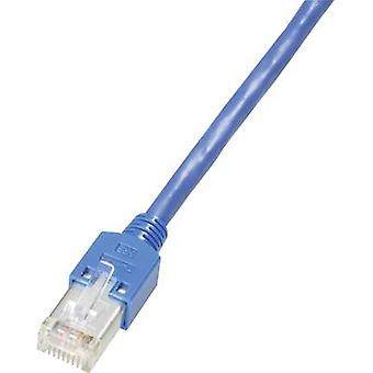 Dätwyler RJ45 K8704.10 Network cable, patch cable CAT 5e S/UTP 10.00 m Blue Flame-retardant, incl. detent