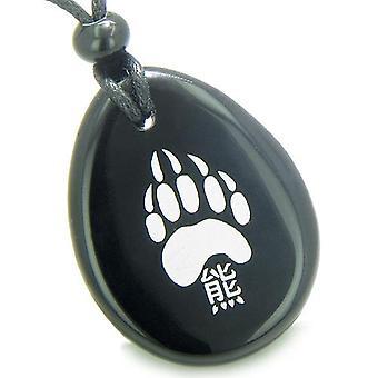 Patte d'ours chanceux Kanji amulette spirituelle Onyx noir désir Totem Gem Pierre Collier pendentif