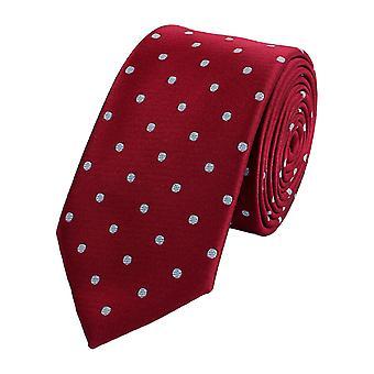 Schlips Krawatte Krawatten Binder Breit 6cm Rot/Weiß gepunktet Fabio Farini
