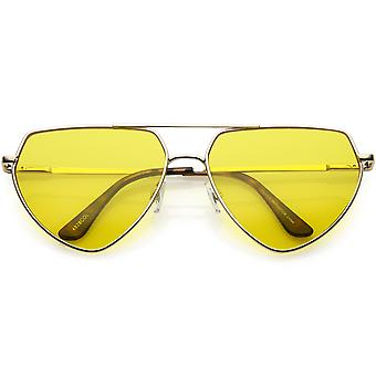 Oversize Metal Aviator Sunglasses Crossbar Slim Arms Color Tinted Lens 61mm