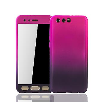 Huawei honor 9 mobiltelefon sag beskyttende tilfælde dække tank beskyttelse glas pink / violet