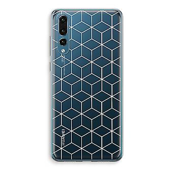 Huawei P20 Pro Transparent Case (Soft) - Cubes black and white