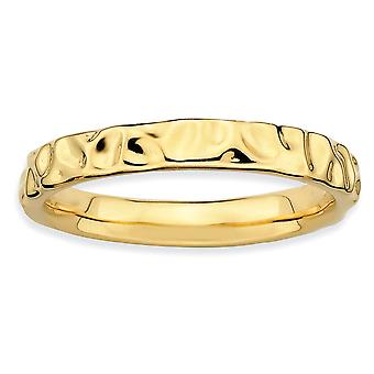 925 סטרלינג כסף מלוטש ביטויים הערמה 14k טבעת מצופה זהב תכשיטים מתנות לנשים-גודל טבעת: 5