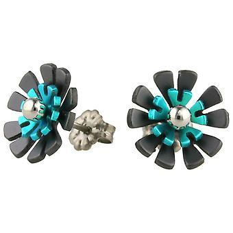 Ti2 Titanium Black zurück zehn Blütenblatt Blume Ohrstecker - Kingfisher blau