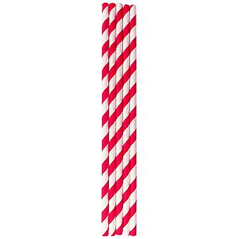 Red & White Stripped Paper Straws 6mm