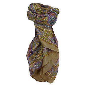 Amoreira seda tradicional lenço quadrado Chiti Ecru pela Pashmina & seda