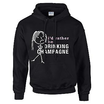 Mesdames, je serais plutôt boire Champagne Hoodie sweat capuche noir
