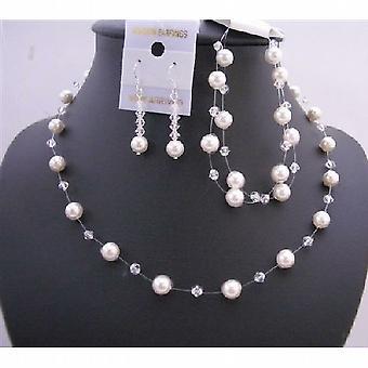 Klaren Kristallen weissen Perlen Halskette Hochzeit Handgemachter Schmuck-Set