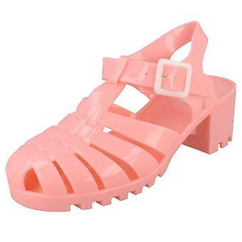 Ladies Spot On Mid Chunky Heel Jelly Sandals F9683