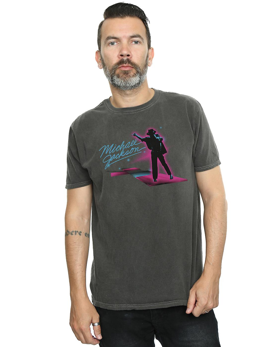 Michael Jackson Men's Neon Stripes Washed T-Shirt