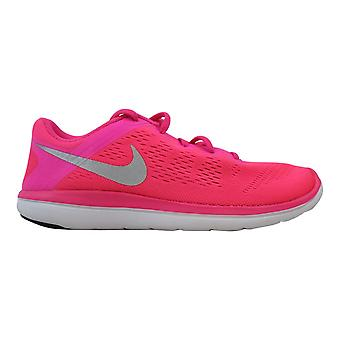 Nike Flex 2016 RN Pink Blast/Metallic Silver-Black  Grade-School 834281-600 Size 6 Medium