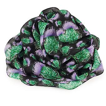 Eternal Collection Scottish Thistle Purple And Black Multi Coloured Pure Silk Scarf