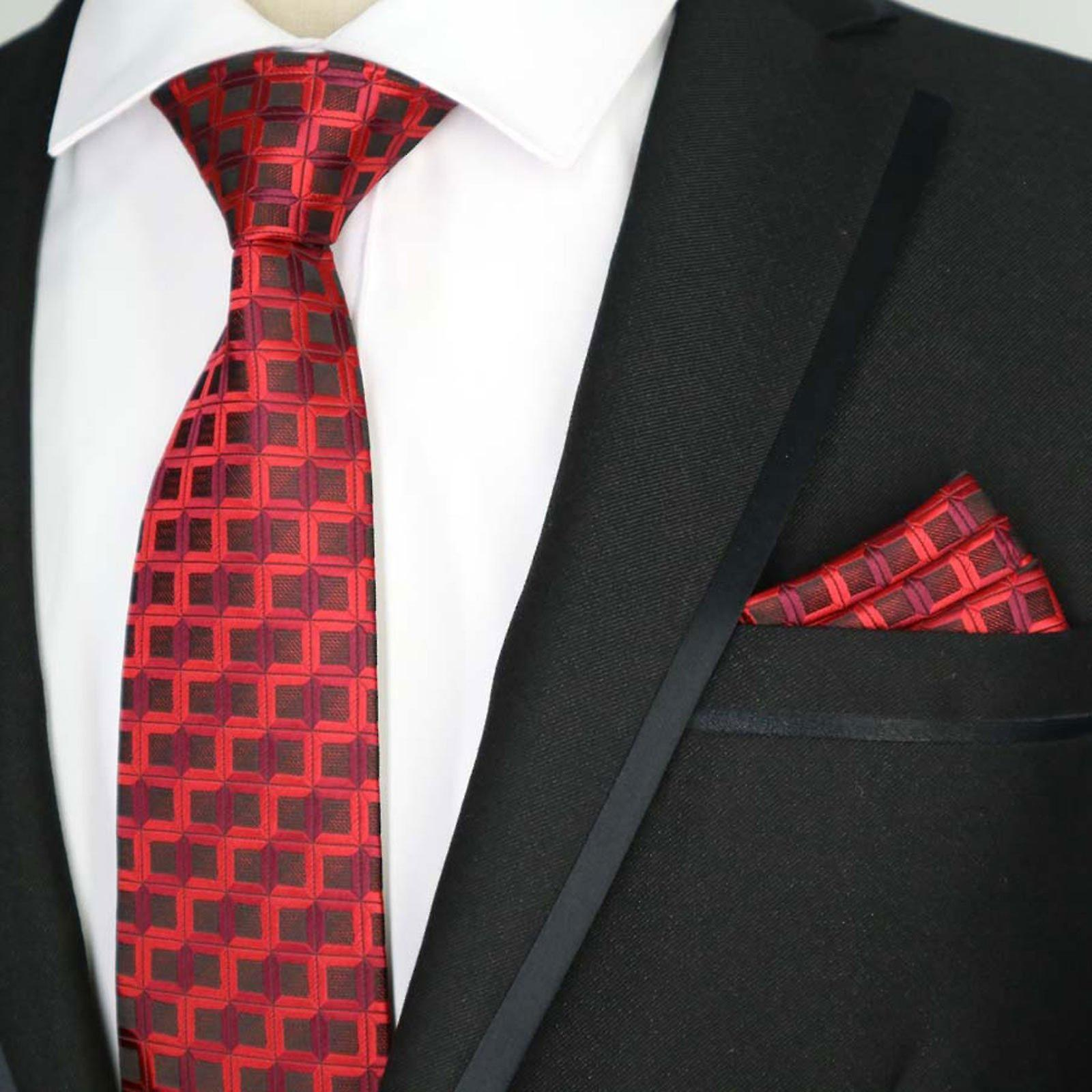 Dark & light red geo stripe designer tie & pocket square