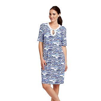 Rösch 1185627-11754 Women's Beachwear Blue Motif Kaftan Beach Dress