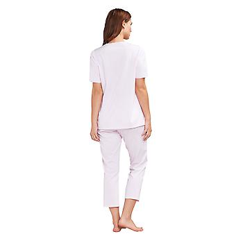 Féraud 3191285-10038 Women's High Class Rose Pink Floral Cotton Bordado Pyjama Top