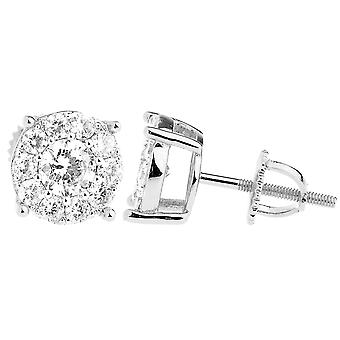 925 sterling silver bling zircon boucles d'oreilles - CLUSTER 9mm