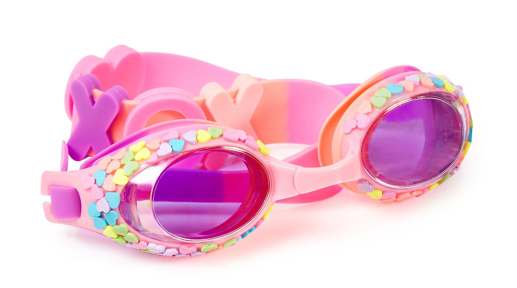 Girls pink traditional shaped candy heart fun swimming goggles