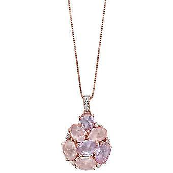 Elements Gold De France et Quartz Cluster Pendant - Pink/Rose Gold