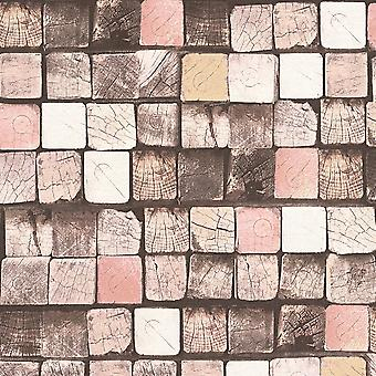A.S. Creation AS Creation Wood Block Pattern Wallpaper Faux Effect Square Embossed Texture 344522