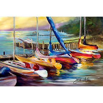 Carolines Treasures  JMK1036PLMT Sailboats at sunset Fabric Placemat