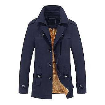 Allthemen Men's Warm Thickened Coat Mid-Long Slim Fit Autumn Solid Trench Coat