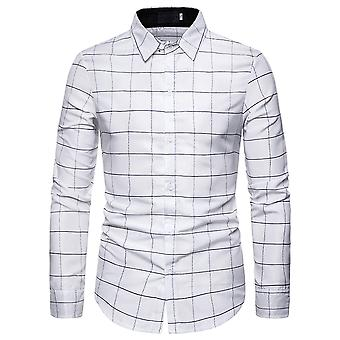 Allthemen Men's Shirt Plaid Colorblocked Casual Langarm Shirt