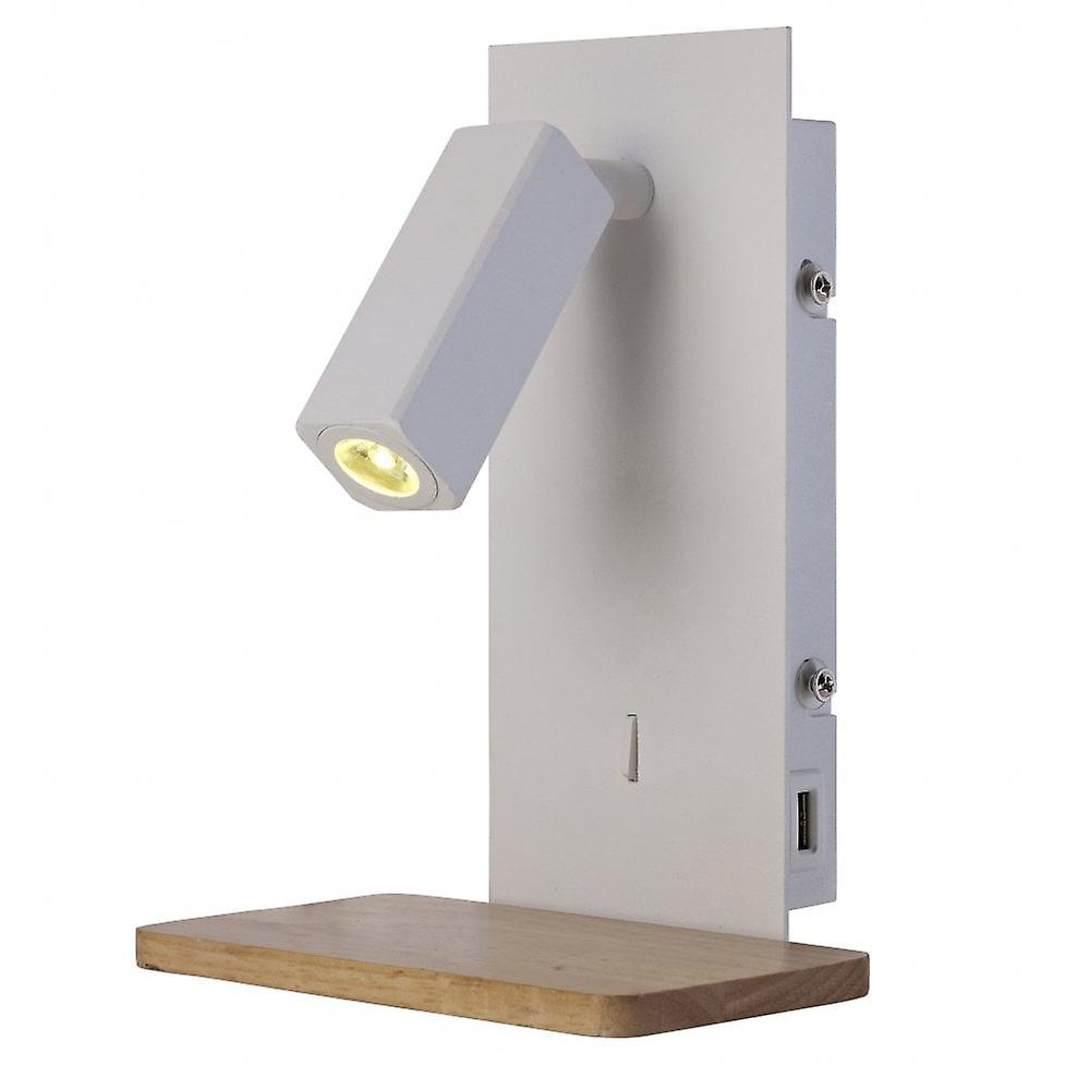 Mantra Nordica Ii Position Wall Light With Usb Socket, 180Lm, 1x3W 3000K LED White / Beech, 3Yrs Warranty
