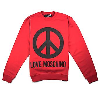 Love Moschino Red Peace Sign Jumper