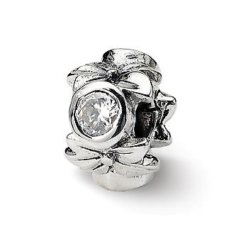 925 Sterling Silver Antique finish Reflections SimStars CZ Cubic Zirconia Simulated Diamond Bead Charm Pendant Necklace